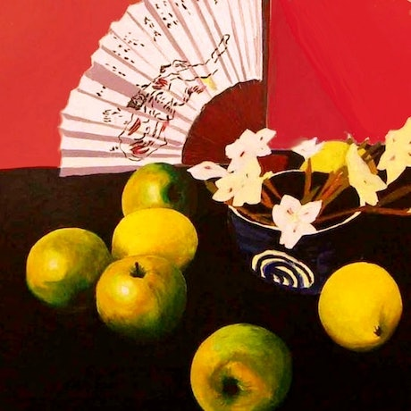 (CreativeWork) Apples and Fan by Andrew J Pearson. Oil Paint. Shop online at Bluethumb.