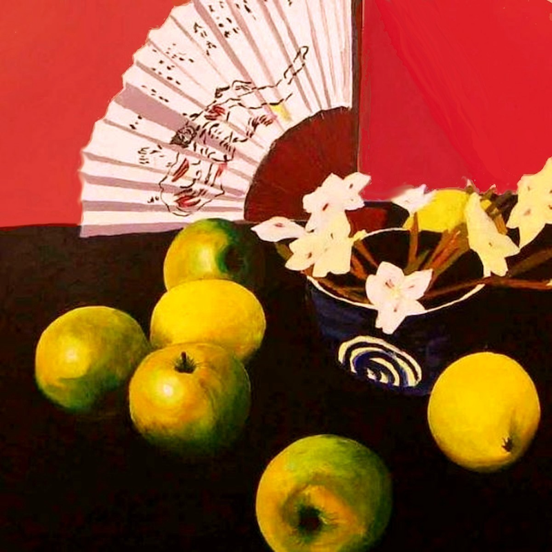 (CreativeWork) Apples and Fan by Andrew J Pearson. oil-painting. Shop online at Bluethumb.