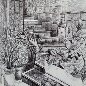 (CreativeWork) Ubud Stairway by Cathy Gilday. drawing. Shop online at Bluethumb.