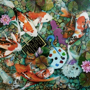 (CreativeWork) Sunken Treasures, Elements of Me by Cathy Gilday. arcylic-painting. Shop online at Bluethumb.