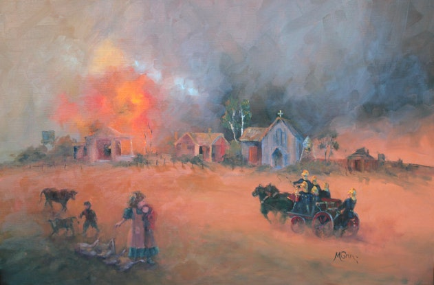 (CreativeWork) 1880 Firefighters      HEROS THEN - HEROS NOW !!~ by Marie Green. Oil Paint. Shop online at Bluethumb.