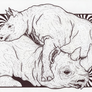 (CreativeWork) Rhinos by Jolon Larter. drawing. Shop online at Bluethumb.