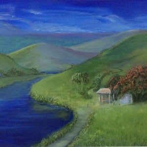 (CreativeWork) 'Picnic Time'  by Deb Brown. oil-painting. Shop online at Bluethumb.