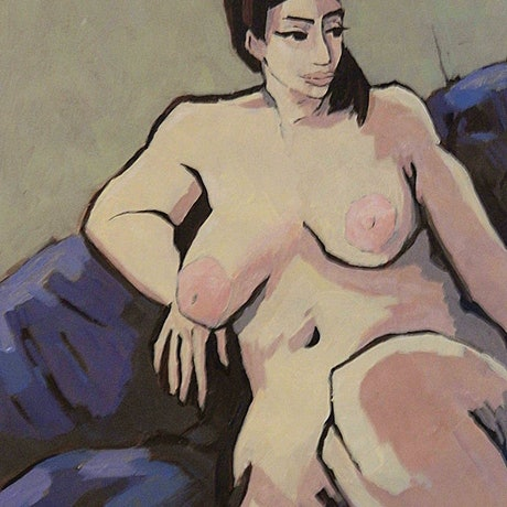 (CreativeWork) Blue Nude by Mac Monks. Acrylic Paint. Shop online at Bluethumb.