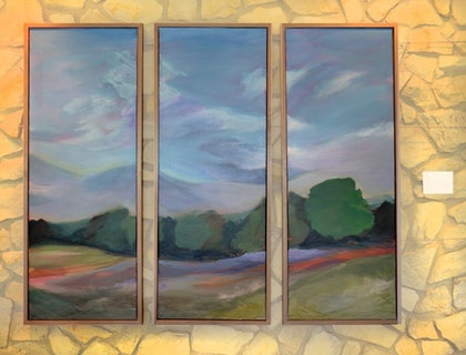 (CreativeWork) Valley Triptych by Ellen Howell. arcylic-painting. Shop online at Bluethumb.