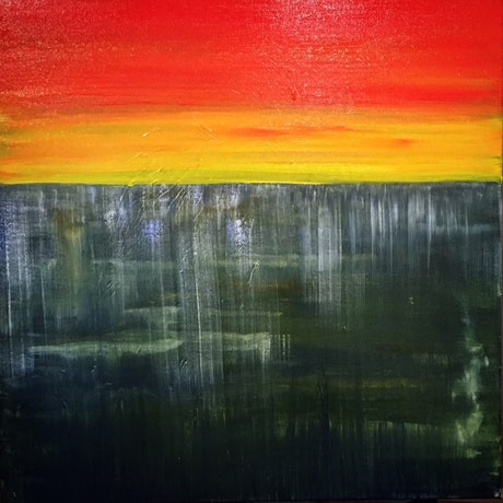 (CreativeWork) Sunset Abyss by Stuart Evans. Acrylic Paint. Shop online at Bluethumb.