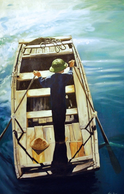 (CreativeWork) The Boatman, Ha Long Bay, Vietnam by John Barcham. Oil Paint. Shop online at Bluethumb.