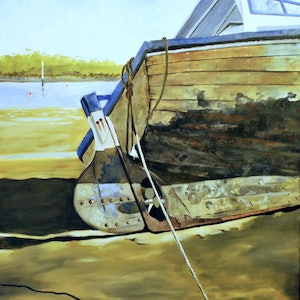 (CreativeWork) Warneet foreshore by John Barcham. oil-painting. Shop online at Bluethumb.