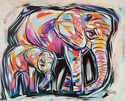 (CreativeWork) Ellies by Valissa McPherson. arcylic-painting. Shop online at Bluethumb.