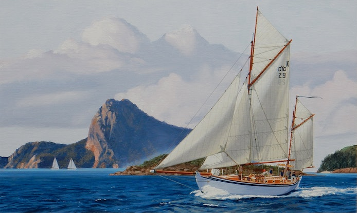 (CreativeWork) The Kathleen Gillett sails the Whitsundays by Lance Ross. Oil Paint. Shop online at Bluethumb.