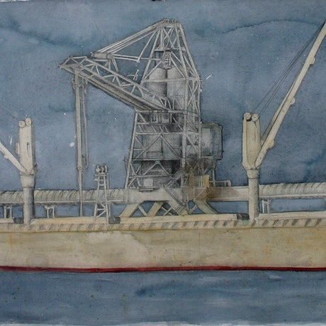 (CreativeWork) Dark Skies over MV Portland by Bridgit Thomas. Watercolour Paint. Shop online at Bluethumb.