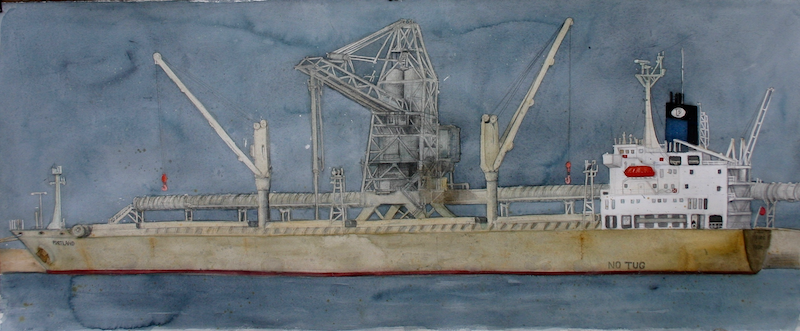 (CreativeWork) Dark Skies over MV Portland by Bridgit Thomas. watercolour. Shop online at Bluethumb.