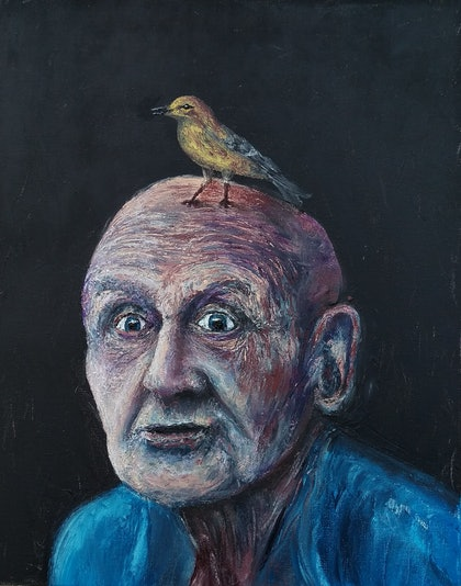 (CreativeWork) The Bird Man by Fletch Cuts. oil-painting. Shop online at Bluethumb.