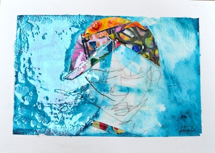(CreativeWork) Water Prince by Sally Perrett. mixed-media. Shop online at Bluethumb.