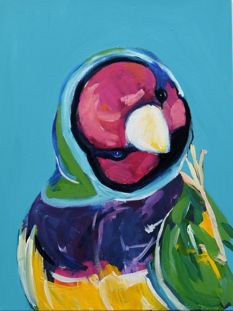 (CreativeWork) Birdblock  by Sally Perrett. Acrylic Paint. Shop online at Bluethumb.