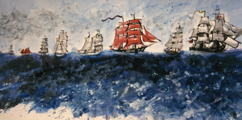 (CreativeWork) Armada - The Second Fleet, Melbourne by Jane Walker. Acrylic Paint. Shop online at Bluethumb.