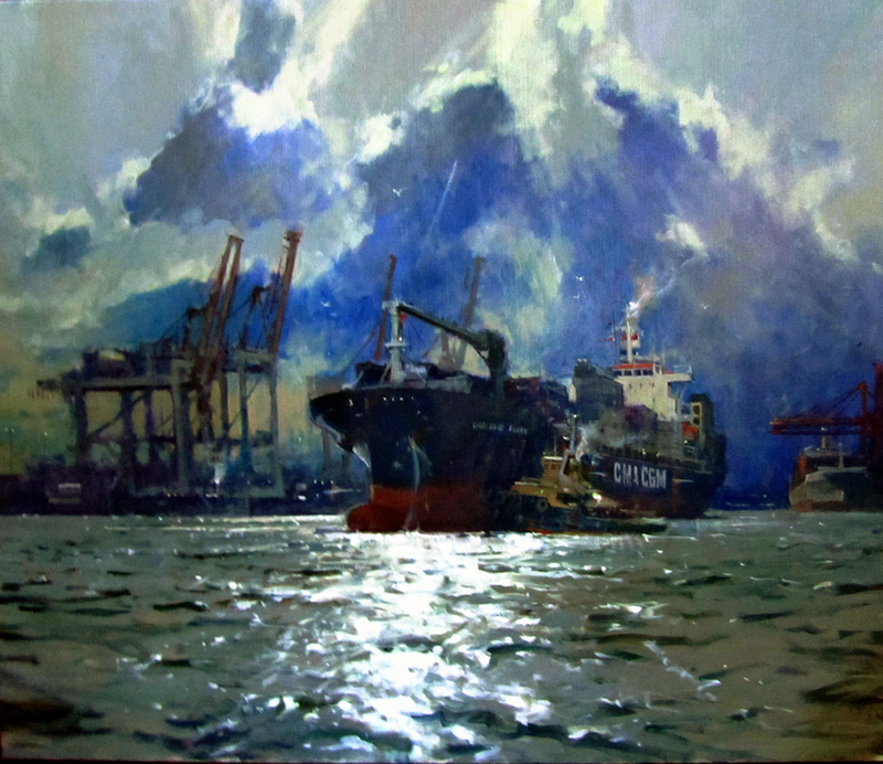 """(CreativeWork)  """"Utrillo on a Silver Sea"""" by Maxwell Wilks. Oil Paint. Shop online at Bluethumb."""