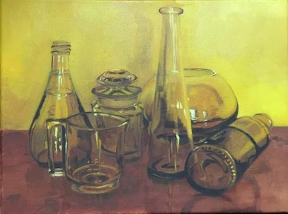 (CreativeWork) Bronze Glass bottles by Jane Kanizay. oil-painting. Shop online at Bluethumb.