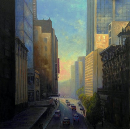 (CreativeWork) Into the Light,  Market Street  Sydney by Fred Marsh. oil-painting. Shop online at Bluethumb.