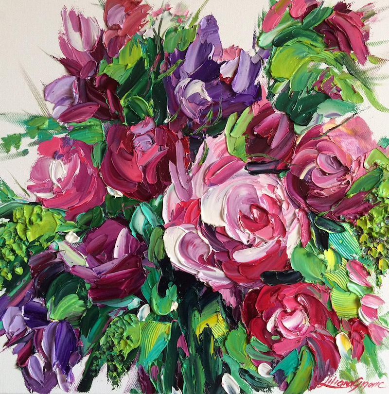 (CreativeWork) Roses delight by Liliana Gigovic. Oil Paint. Shop online at Bluethumb.