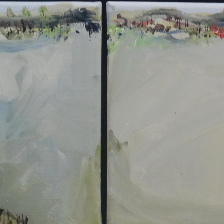 (CreativeWork) Approaching Youggera (Four Panel) by Rodney Cassidy. Acrylic Paint. Shop online at Bluethumb.