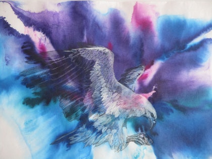 (CreativeWork) Winged Beauty by Marty Foster. mixed-media. Shop online at Bluethumb.
