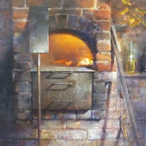 (CreativeWork) Dinner at Russells by Tom O'Callaghan. oil-painting. Shop online at Bluethumb.