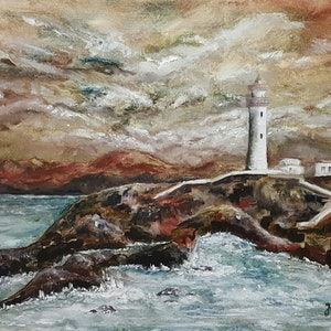 (CreativeWork) The Lighthouse 2 by Jan Sikora. oil-painting. Shop online at Bluethumb.