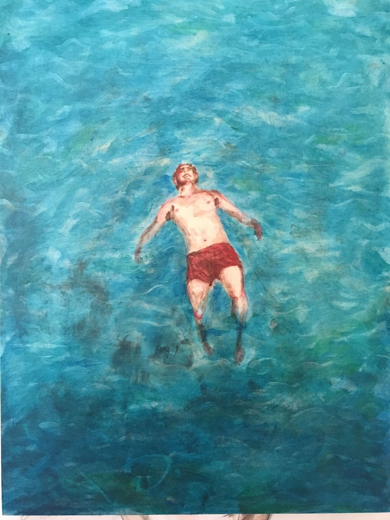 (CreativeWork) Float on by Scott Owen. oil-painting. Shop online at Bluethumb.