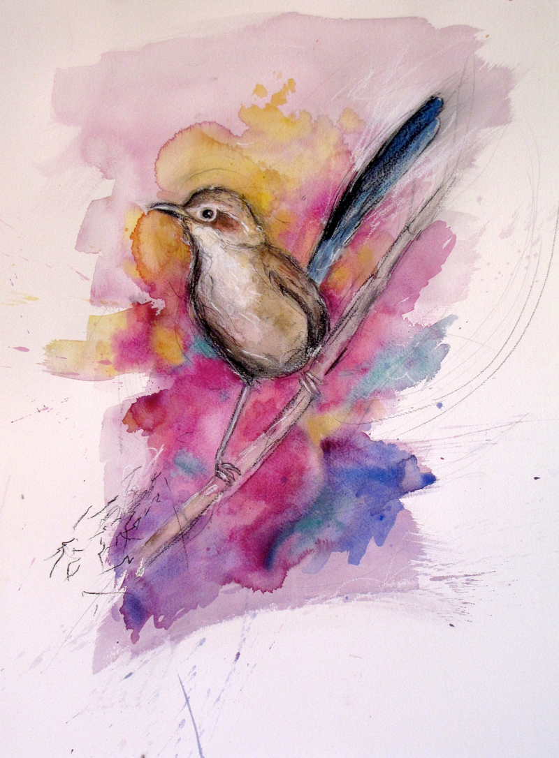 (CreativeWork) Bird song by Jet James. Mixed Media. Shop online at Bluethumb.