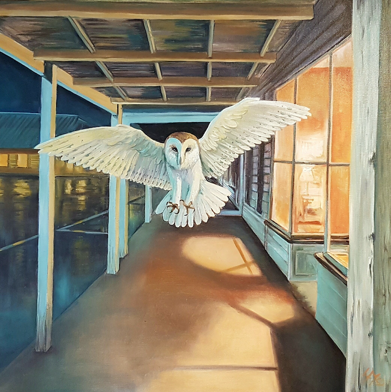 (CreativeWork) Owl On High Street by Llael McDonald. oil-painting. Shop online at Bluethumb.