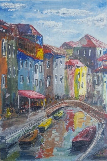 (CreativeWork) A town and boats 1 by Jan Sikora. oil-painting. Shop online at Bluethumb.
