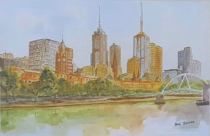 (CreativeWork) Melbourne, Victoria by Jan Sikora. watercolour. Shop online at Bluethumb.