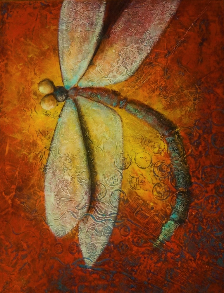 (CreativeWork) Dragonfly by Naomi Norris. mixed-media. Shop online at Bluethumb.