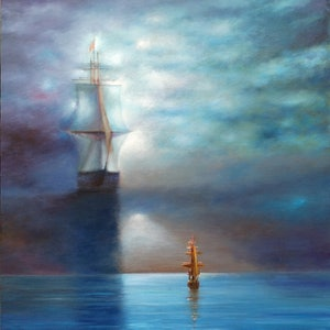 (CreativeWork) Flying Dutchman by Sergei Londar. oil-painting. Shop online at Bluethumb.