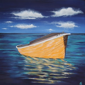 (CreativeWork) Little Yellow Boat  by Ann Steer. arcylic-painting. Shop online at Bluethumb.