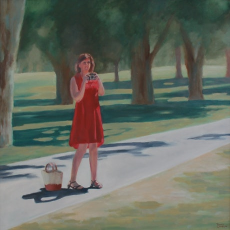 (CreativeWork) Lady with a Kodak camera by Trent Chaplin. Oil Paint. Shop online at Bluethumb.