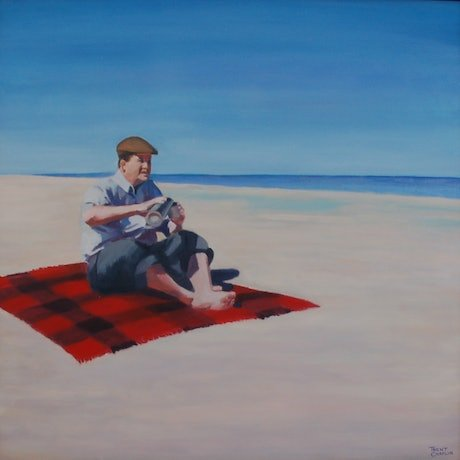 (CreativeWork) Man on a picnic rug with a thermos by Trent Chaplin. Oil Paint. Shop online at Bluethumb.