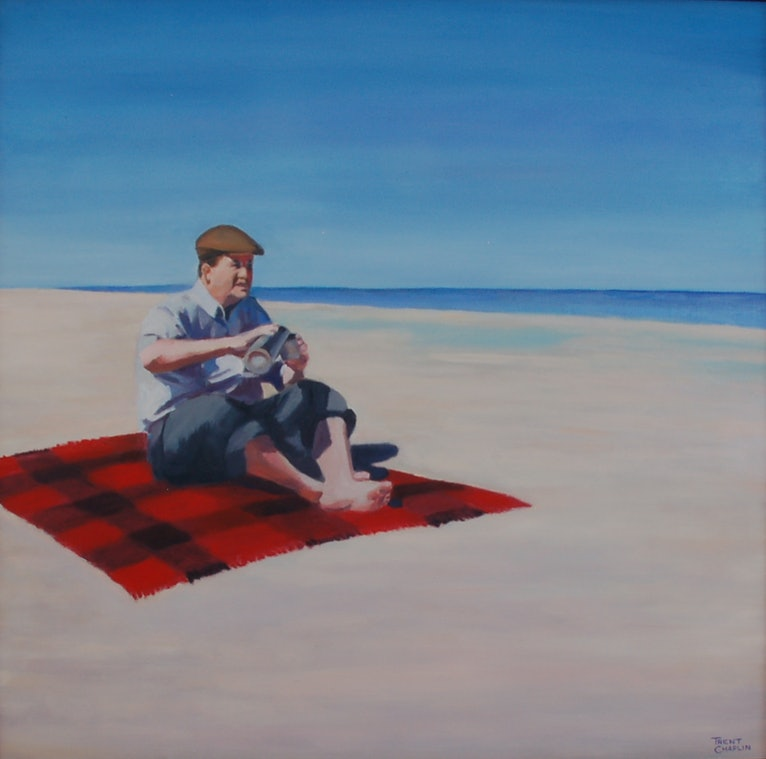 (CreativeWork) Man on a picnic rug with a thermos by Trent Chaplin. oil-painting. Shop online at Bluethumb.