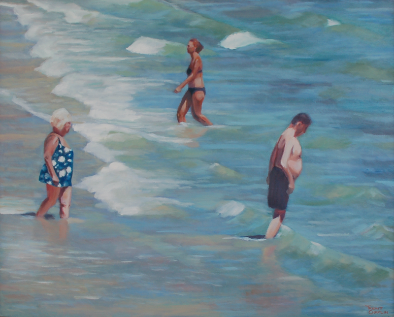 (CreativeWork) In the shallows by Trent Chaplin. oil-painting. Shop online at Bluethumb.