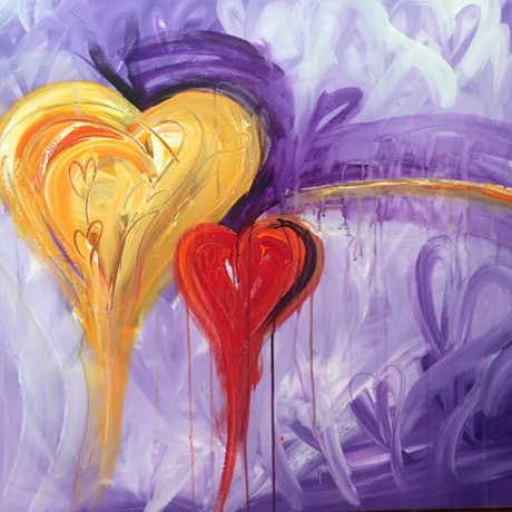 (CreativeWork) Hearts in Motion by Samantha Tipler. Acrylic. Shop online at Bluethumb.