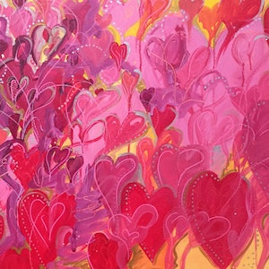 (CreativeWork) Heart of Hearts by Samantha Tipler. arcylic-painting. Shop online at Bluethumb.