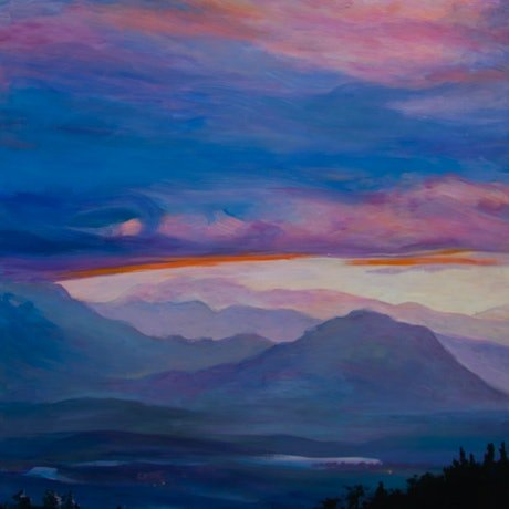 (CreativeWork) Green Mountains Sunset by Katia Strounina. Acrylic Paint. Shop online at Bluethumb.