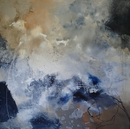 (CreativeWork) Floating in Indigo by Christine Scurr. arcylic-painting. Shop online at Bluethumb.