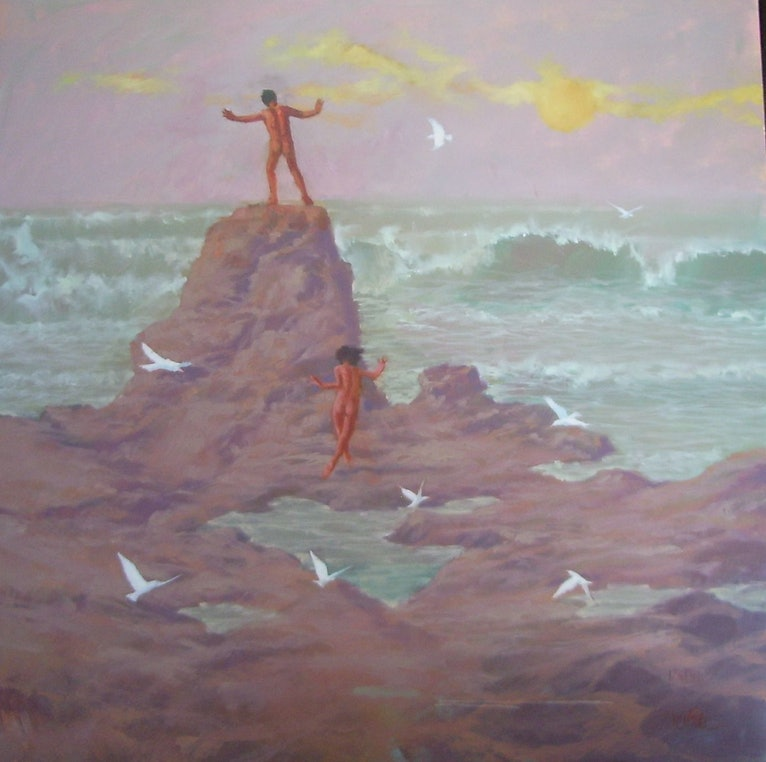 (CreativeWork) Ritual to the High Tide by Peter Campbell. oil-painting. Shop online at Bluethumb.