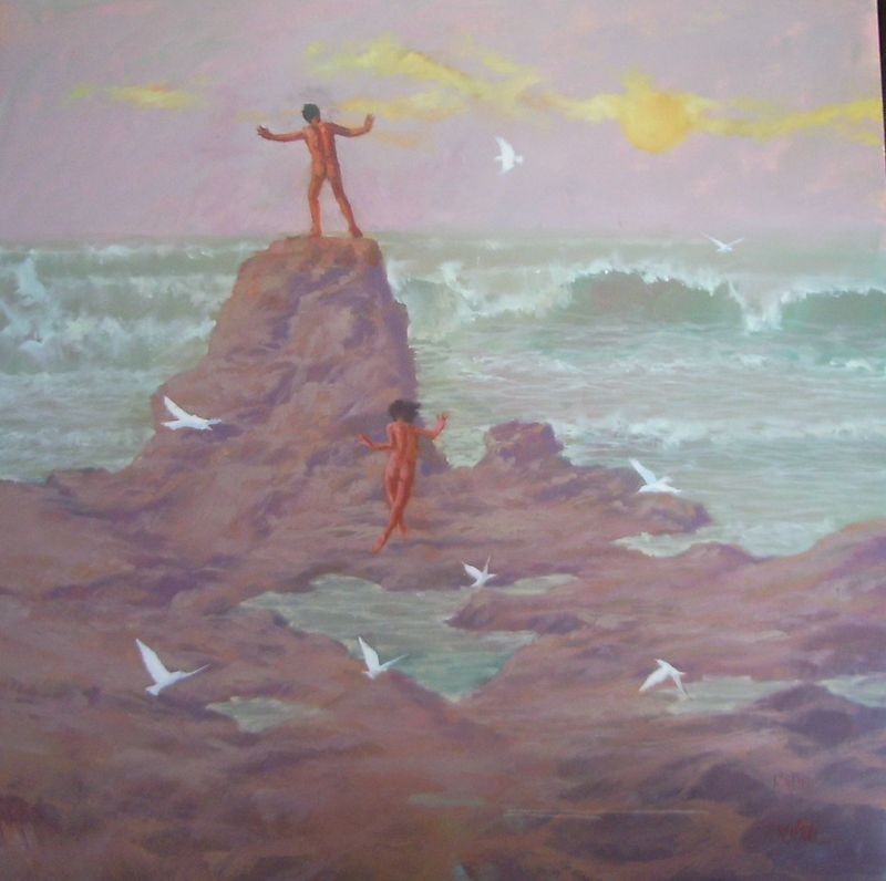 (CreativeWork) Ritual to the High Tide by Peter Campbell. Oil Paint. Shop online at Bluethumb.
