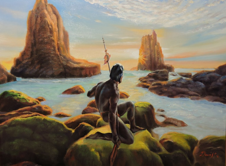 (CreativeWork) The Aboriginal's Cathedrals by Rob Davis. oil-painting. Shop online at Bluethumb.