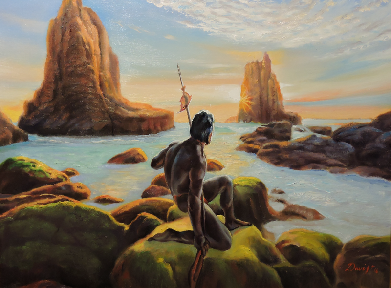 (CreativeWork) The Aboriginal's Cathedrals by Rob Davis. Oil Paint. Shop online at Bluethumb.
