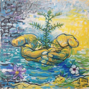 (CreativeWork) 'Green and Gold' by Leigh Hooker. arcylic-painting. Shop online at Bluethumb.