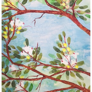 (CreativeWork) Spring colours by Caroline Deeble. watercolour. Shop online at Bluethumb.